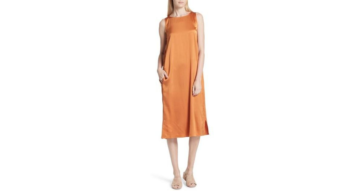 347459cd137 Lyst - Eileen Fisher Stretch Silk Tank Dress in Orange