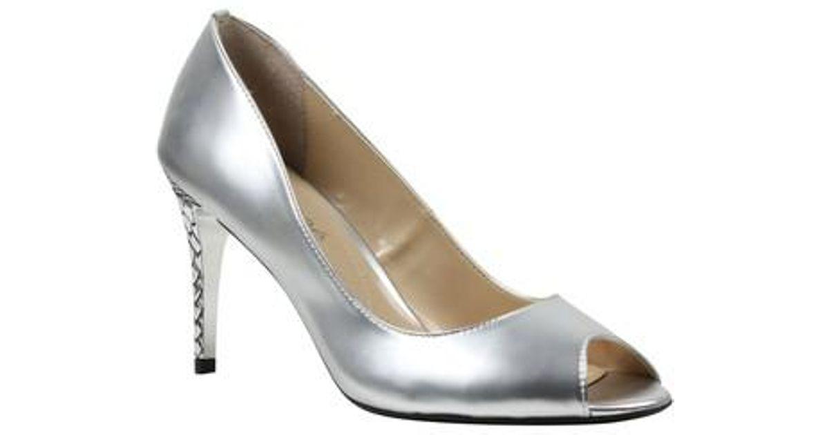 J. Renee Lucera Metallic Leather Peep-Toe Dress Pumps 4ZUvfd
