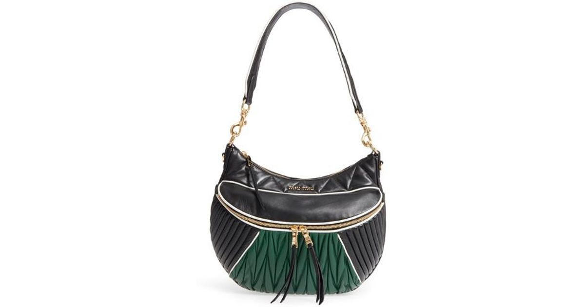 bd8139ffe2 Lyst - Miu Miu Large Rider Matelasse Leather Shoulder Bag in Black