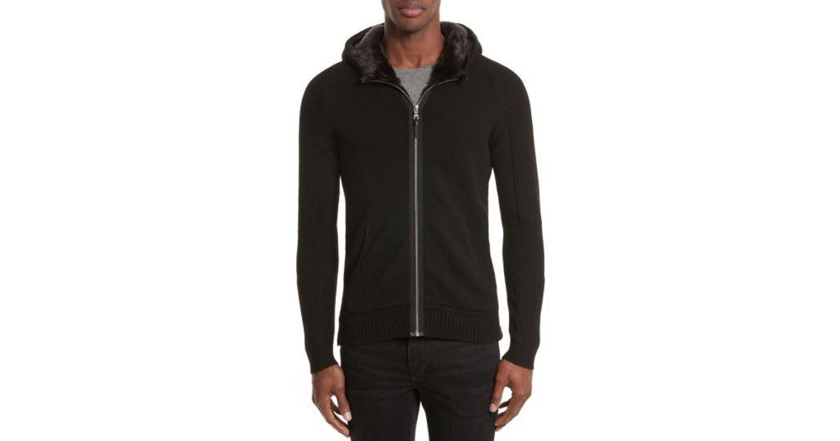 0d3aac1b1d2 Lyst - The Kooples Knit Zip Hoodie With Faux Fur Trim in Black for Men