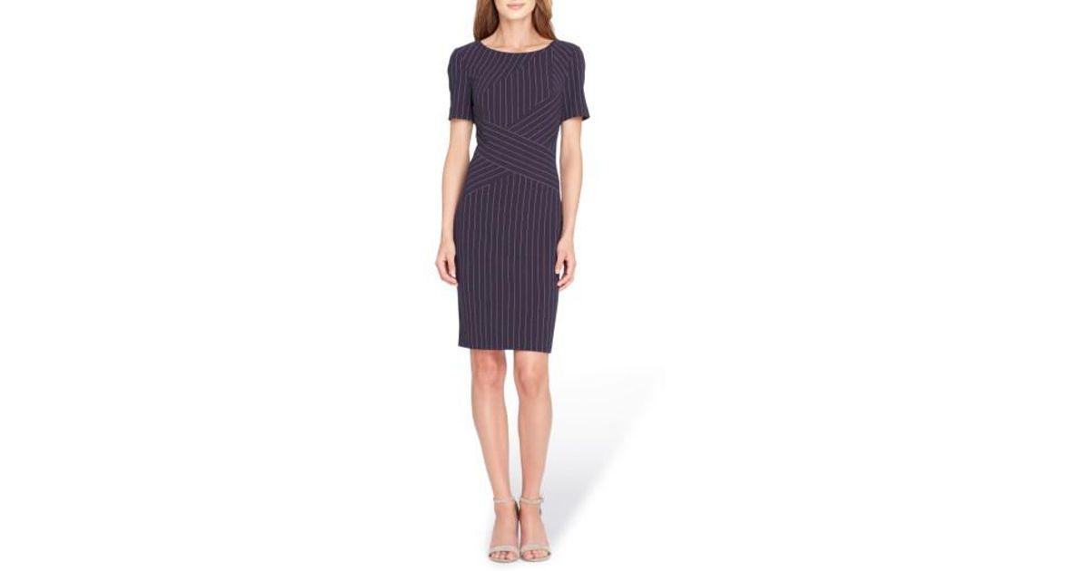 1d9d62e3 Lyst - Tahari Pinstripe Sheath Dress in Blue