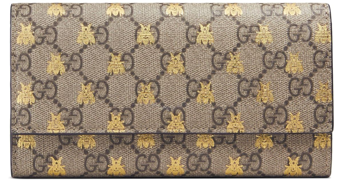 9cb5ac18bfef0f Gucci Linea Bee Gg Supreme Continental Wallet - - Lyst