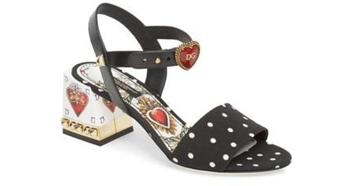 9d8f761fbad0 En Sandalia Dolce Corazon Negro Sagrado Lyst Gabbana CExXqndww0