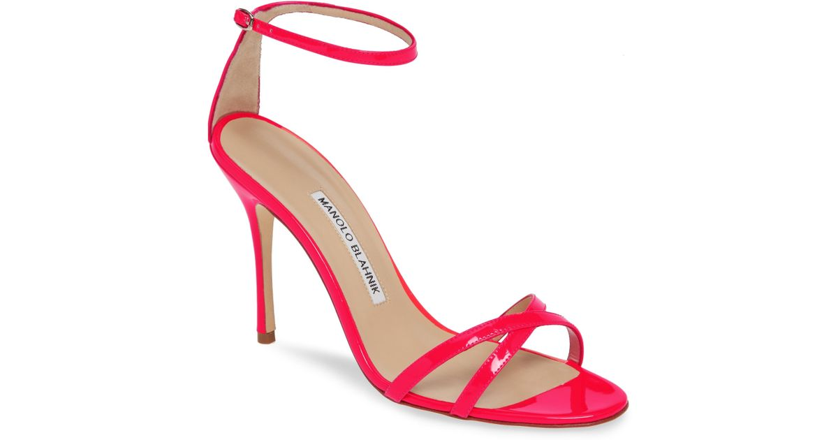 00075f0ceb43 Lyst - Manolo Blahnik Paloma Neon Ankle Strap Sandal in Red