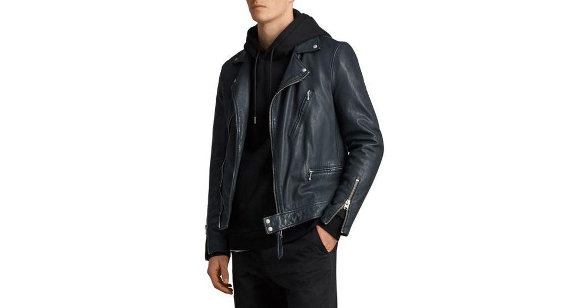 315ebcd23ae Lyst - AllSaints Carver Slim Fit Leather Biker Jacket in Black for Men
