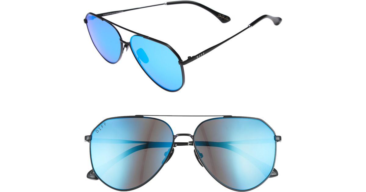 26ba57552415f Lyst - DIFF X Jessie James Decker Dash 61mm Polarized Aviator Sunglasses in  Blue