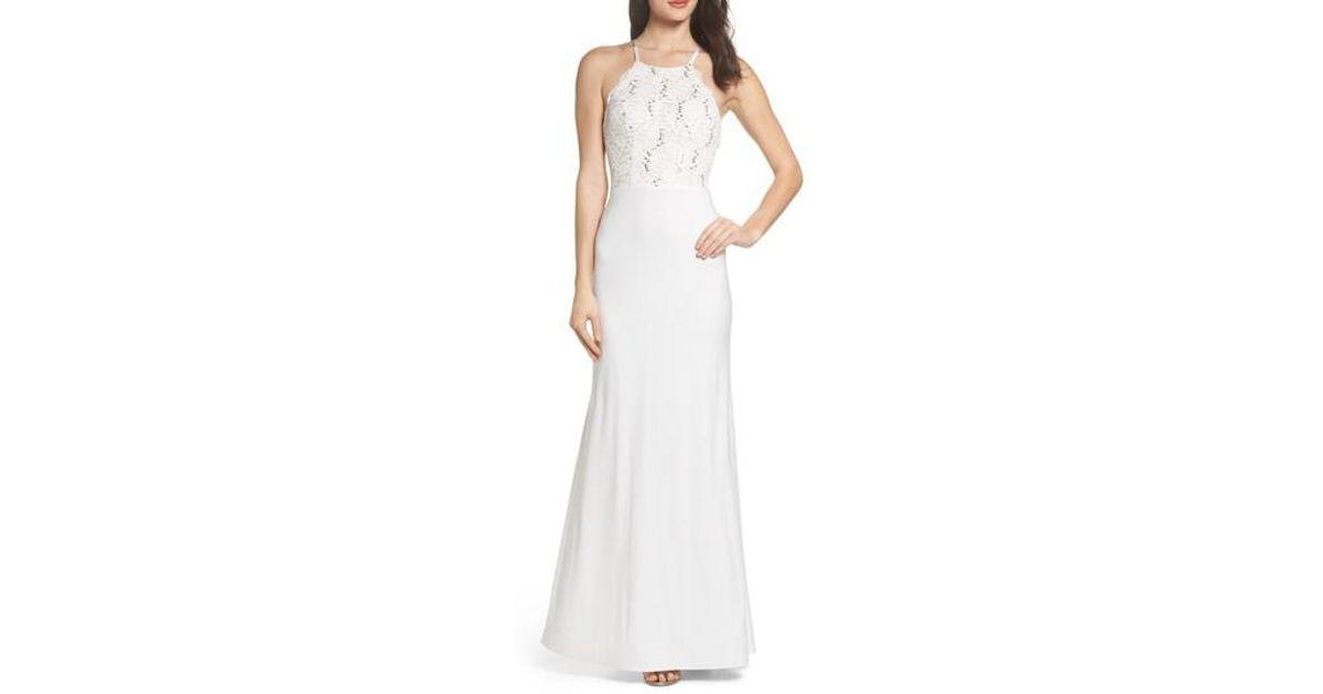 7f9da1edb4b Lyst - Sequin Hearts Ruffle Back Lace Gown in White
