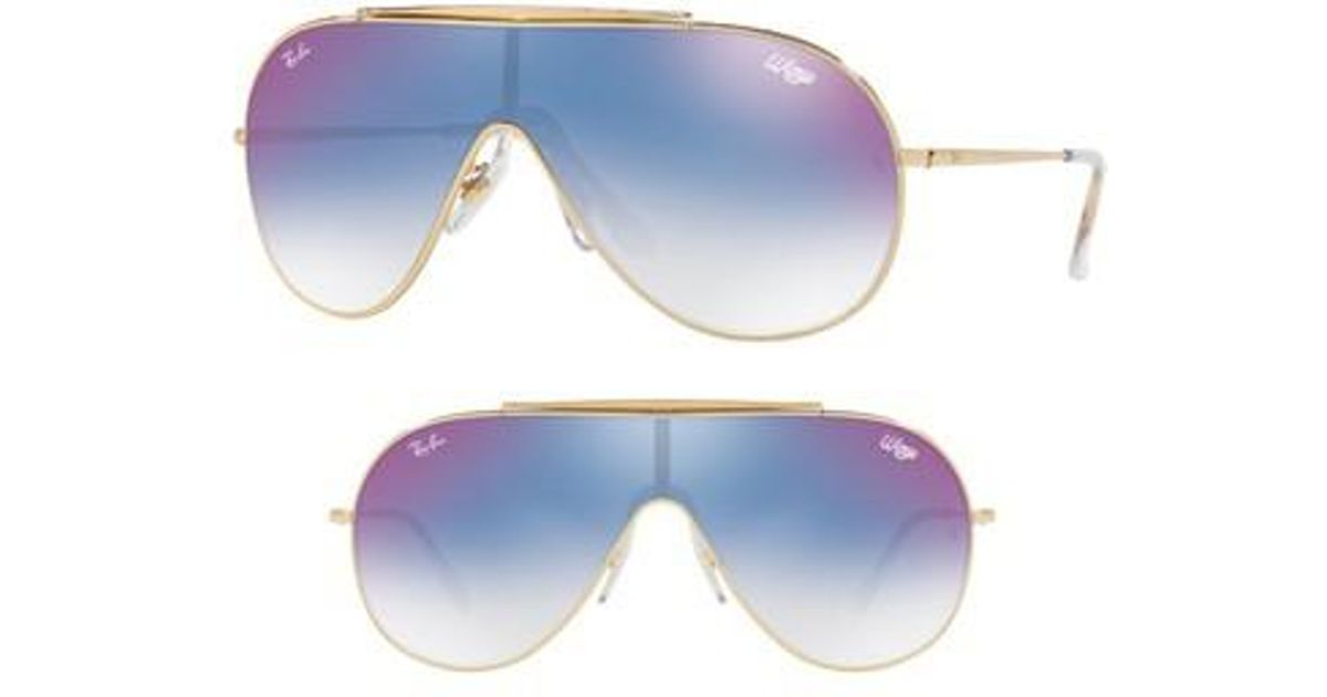 fa0a92f7b6 Lyst - Ray-Ban 133mm Shield Sunglasses - Purple  Blue Gradient Mirror in  Blue