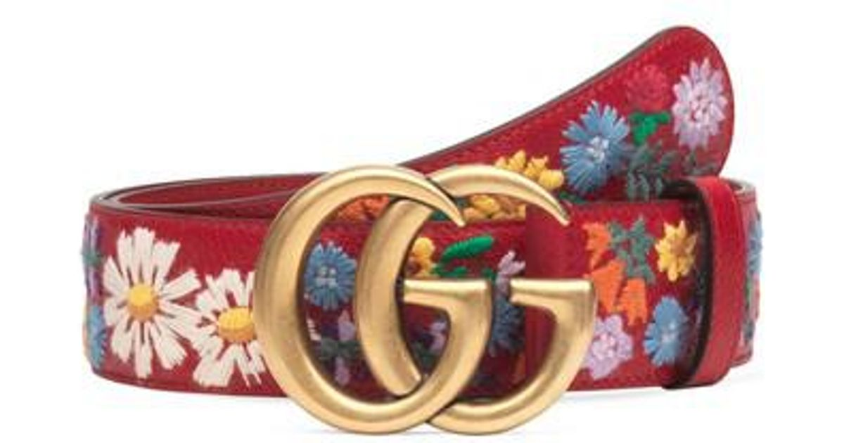 52a3ca9f5 Gucci Gg Flower Embroidered Calfskin Leather Belt in Red - Lyst