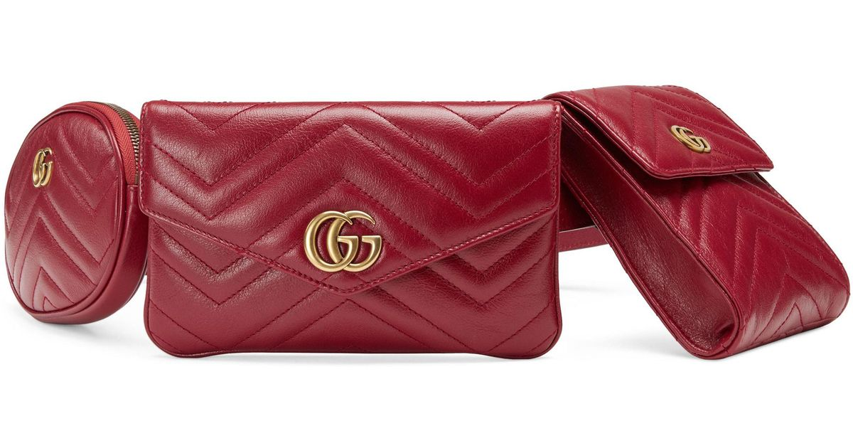 811ae0c562c5 Gucci Gg Marmont 2.0 Matelasse Triple Pouch Leather Belt Bag - Lyst