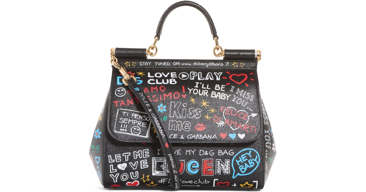 Lyst - Dolce   Gabbana Medium Sicily Bag In Printed Dauphine Calfskin in  Black d3b09841eb
