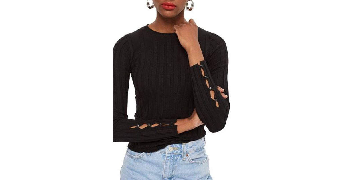 Save Q1pfxwr8a Sweater Topshop 0 30 Lyst Black Ribbed In XqRTqwz