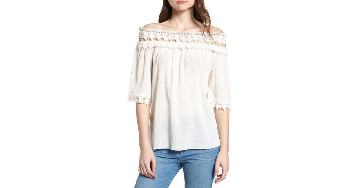 ae8da4d3214 Lyst - Bishop And Young Bishop + Young Olivia Crochet Trim Off The Shoulder  Top