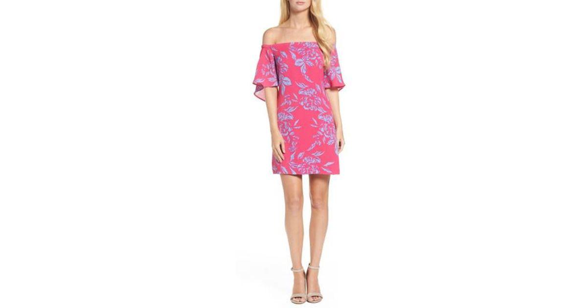 9d0870e7320 Lyst - Charles Henry Off The Shoulder Print Shift Dress in Pink