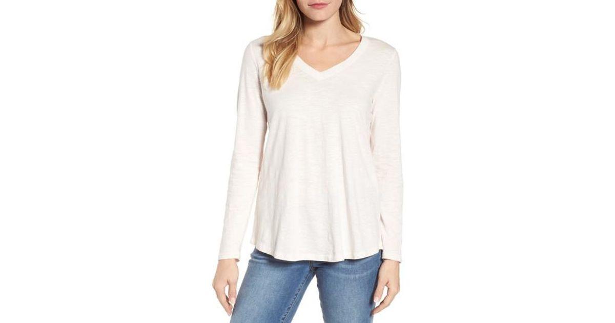 Lyst eileen fisher organic cotton v neck tee in white for Eileen fisher organic cotton t shirt
