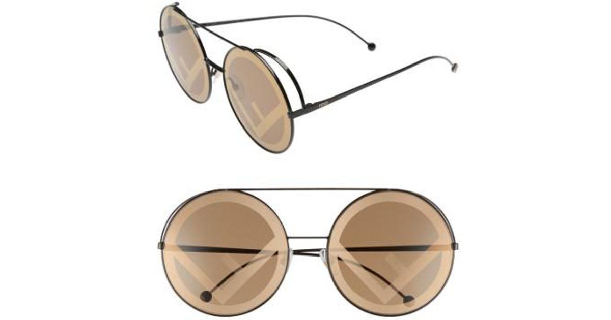 a1ae347b3792f Lyst - Fendi Run Away 63mm Round Sunglasses in Brown