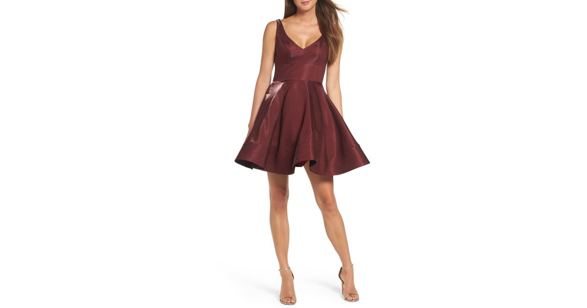 8133e52c Xscape Shimmer Fit & Flare Dress in Red - Lyst