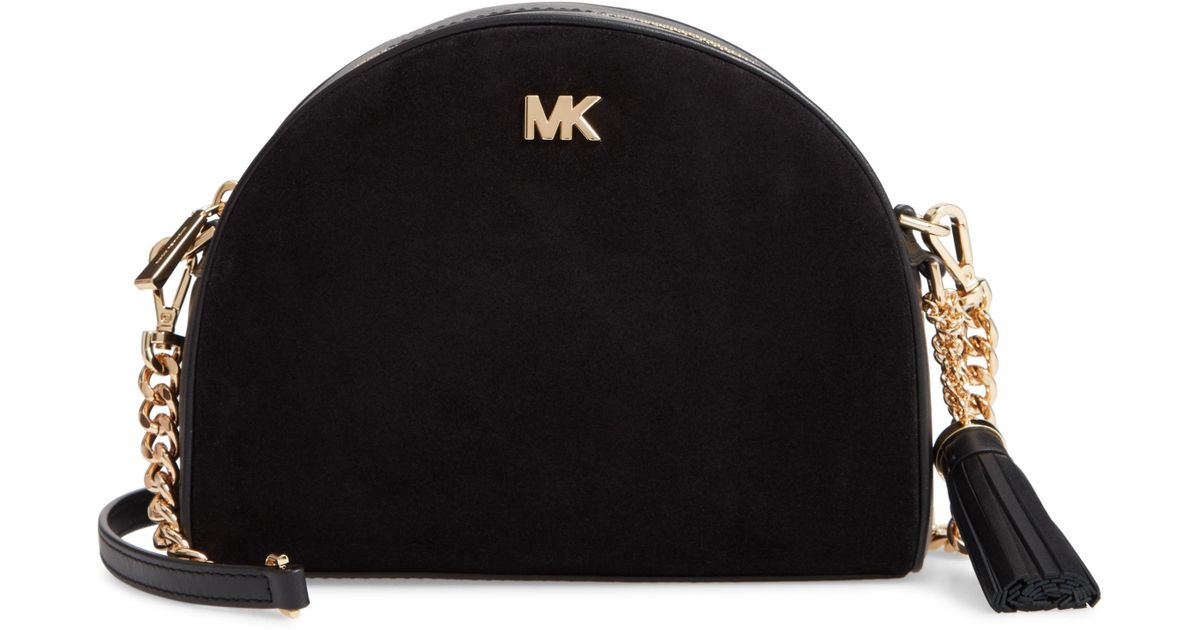 39e83dc077311b MICHAEL Michael Kors Ginny Half Moon Leather Crossbody Bag in Black - Lyst