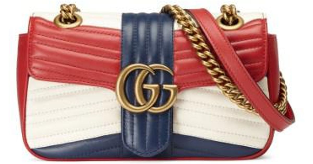 728af4c0f18 Lyst - Gucci Mini Gg Marmont 2.0 Tricolor Matelasse Leather Shoulder Bag in  Red