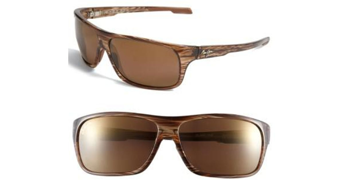 c13180ceda3 Lyst - Maui Jim  island Time - Polarizedplus  Rectangle Wrap 64mm Sunglasses  - Striped Rootbeer in Brown for Men