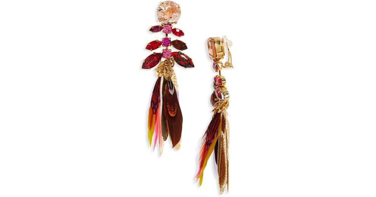 Lyst Gas Bijoux Cabaret Clip On Feather Drop Earrings In Red