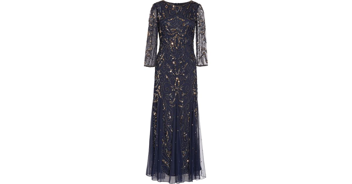 29c6ff89c95 Lyst - Pisarro Nights Embellished Mesh Gown in Blue