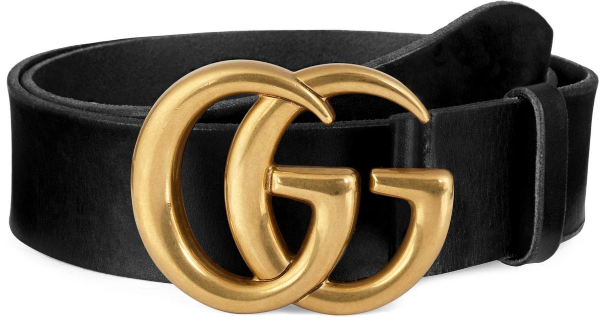 b35aee0a671 Lyst Gucci Running Gold Leather Belt In Black For Men