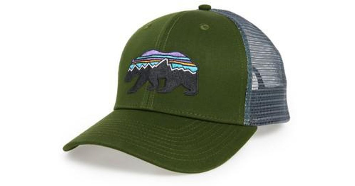 best website ec3e5 5ddb0 Patagonia Fitz Roy Bear Trucker Cap in Green for Men - Lyst