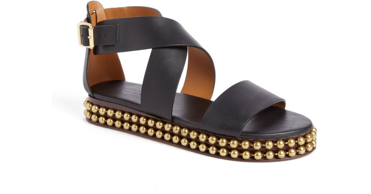 9f6481b5b688f1 Lyst - Chloé Sawyer Strappy Studded Sandal in Black