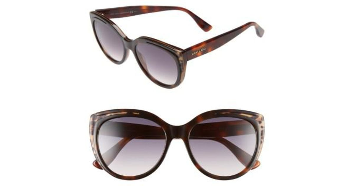 7e0b4df74fb6 Lyst - Jimmy Choo  nicky  56mm Cat Eye Sunglasses - Animal Havana in Brown