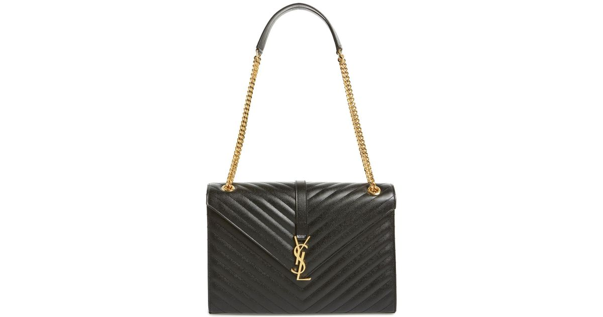 13d7e6d759 Lyst - Saint Laurent Large Monogram Grained Leather Shoulder Bag in Black