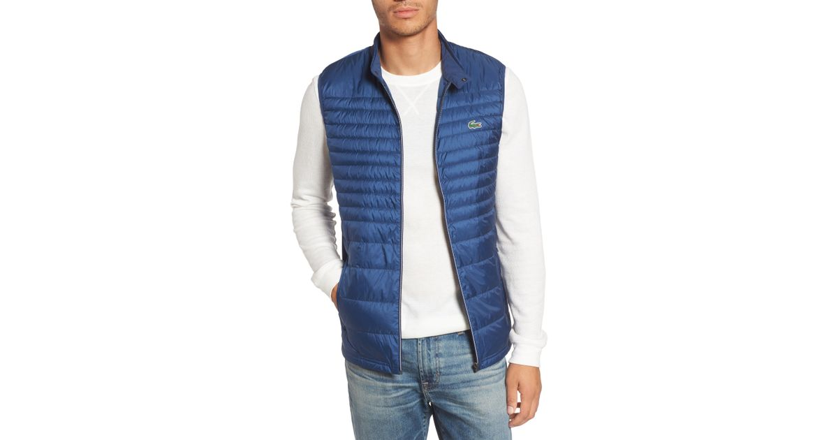 a5469a46b6ed Lyst - Lacoste Sport Water Resistant Quilted Down Golf Vest in Blue for Men