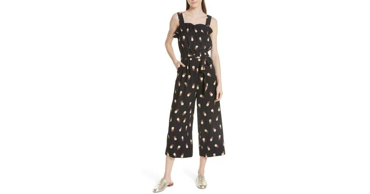 f67456a06ec Lyst - Kate Spade Pineapple Wide Leg Crop Jumpsuit in Black