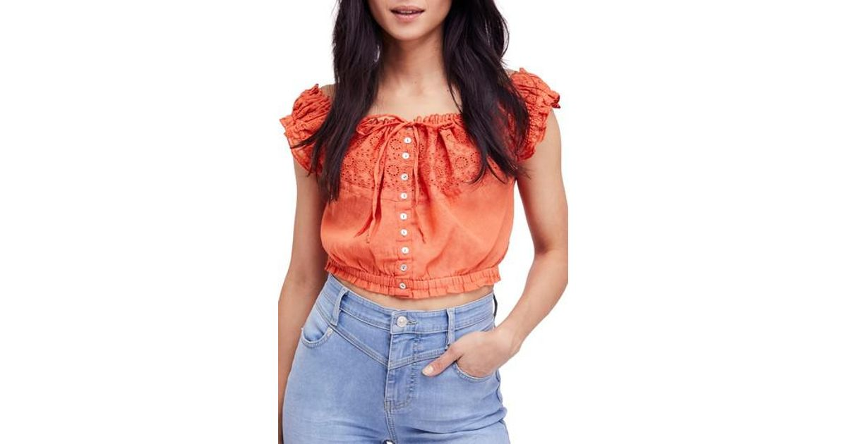 9c89ac610d72fa Lyst - Free People Eyelet You A Lot Top in Orange