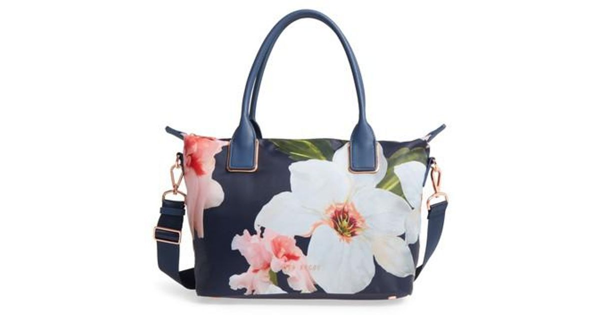 d7cc11a54d7e Lyst - Ted Baker Small Orsja Chatsworth Bloom Nylon Tote in Blue