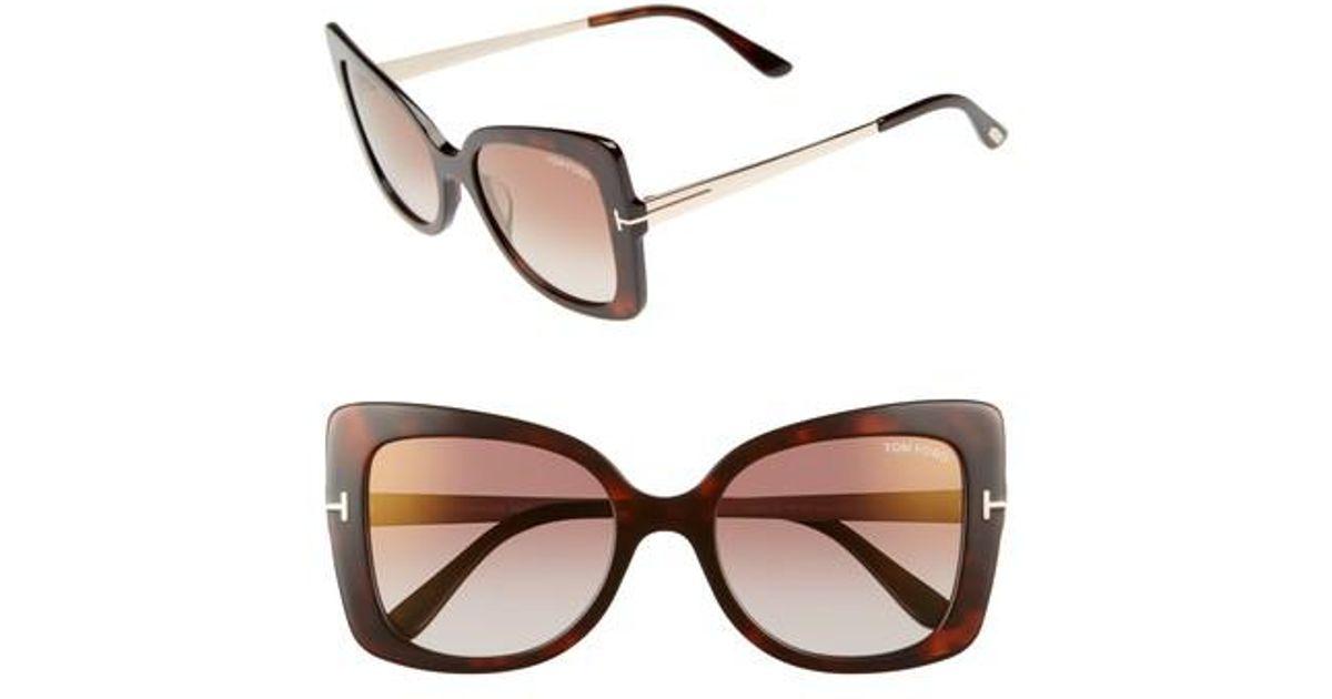 9ab5f0133f1d4 Lyst - Tom Ford Gianna 54mm Sunglasses - Dark Havana  Brown Mirror in Brown