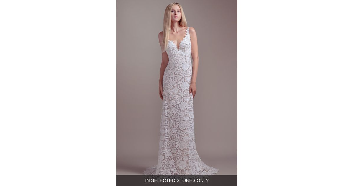 0ce20b6b BLUSH BY HAYLEY PAIGE Atlas V-neck Lace Wedding Dress in White - Lyst
