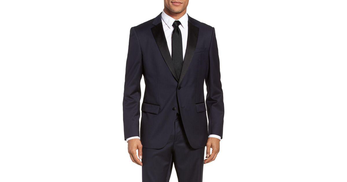 7083717c2 BOSS Hence Cyl Slim Fit Wool Dinner Jacket in Blue for Men - Lyst