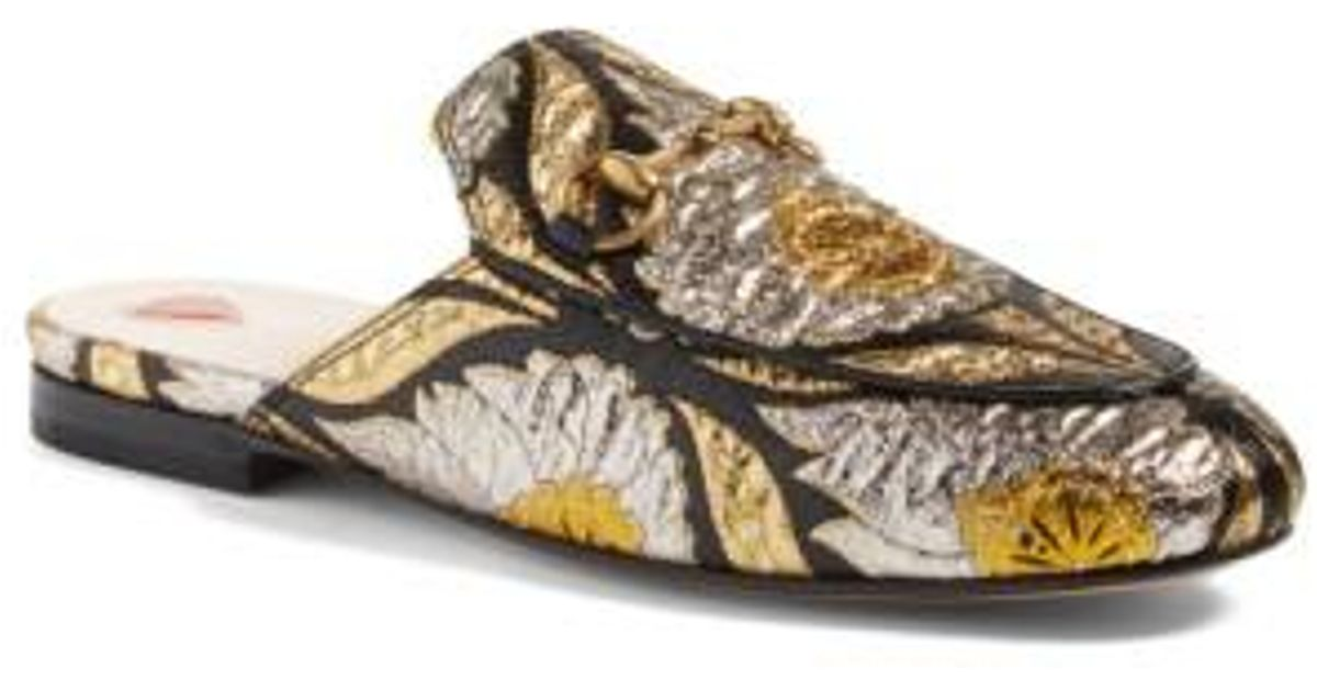 01df28af9ca Lyst - Gucci Princetown Jacquard Mules