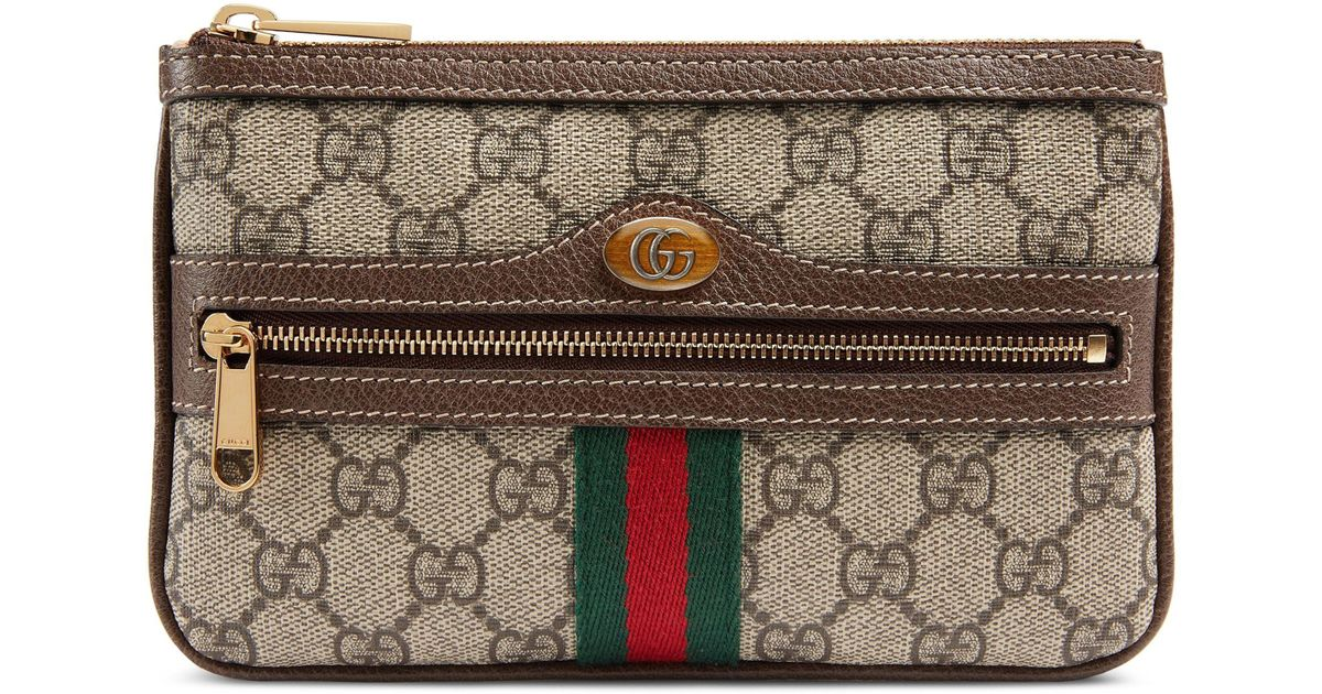 22de91ed7 Gucci Ophidia Gg Supreme Canvas Zip Pouch in Natural - Lyst