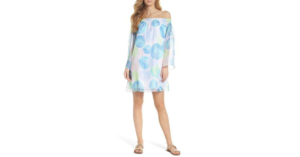 537a1428d65c01 Lyst - Lilly Pulitzer Lilly Pulitzer Abi Off The Shoulder Silk Dress in Blue