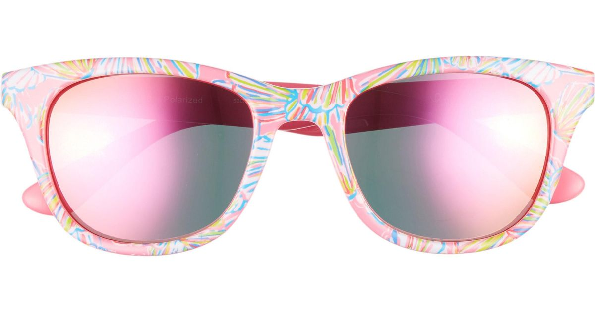 ac4b5aa00d Lyst - Lilly Pulitzer Lilly Pulitzer Maddie 52mm Polarized Mirrored  Sunglasses -