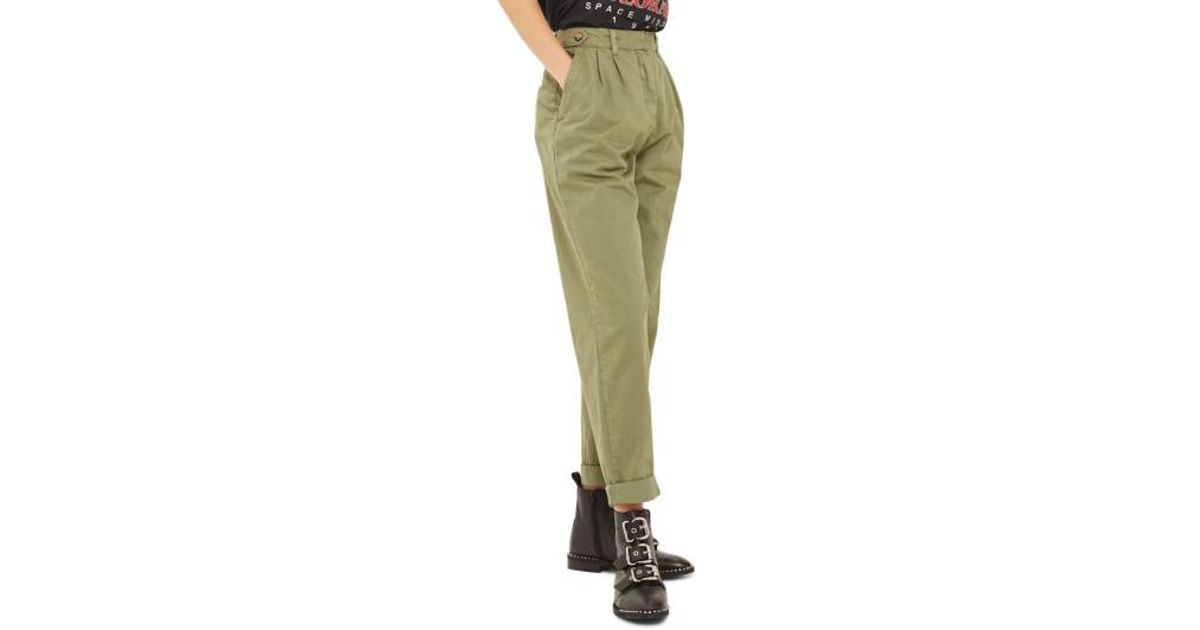topshop side tab utility trousers in green lyst. Black Bedroom Furniture Sets. Home Design Ideas