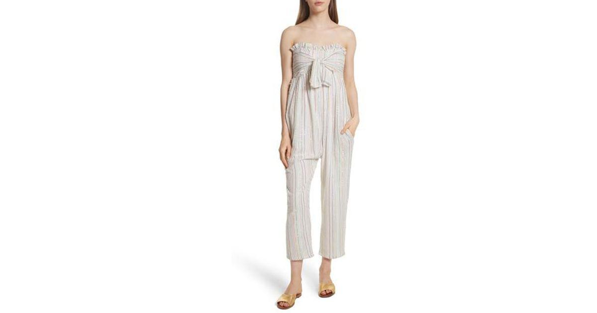 d3e5b7c442a9 Lyst - Apiece Apart Gipsea Metallic Stripe Strapless Jumpsuit in White