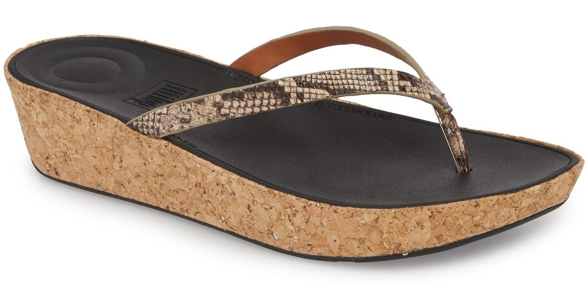 e0f6002c3b5 Lyst - Fitflop Linny Wedge Flip Flop in Natural