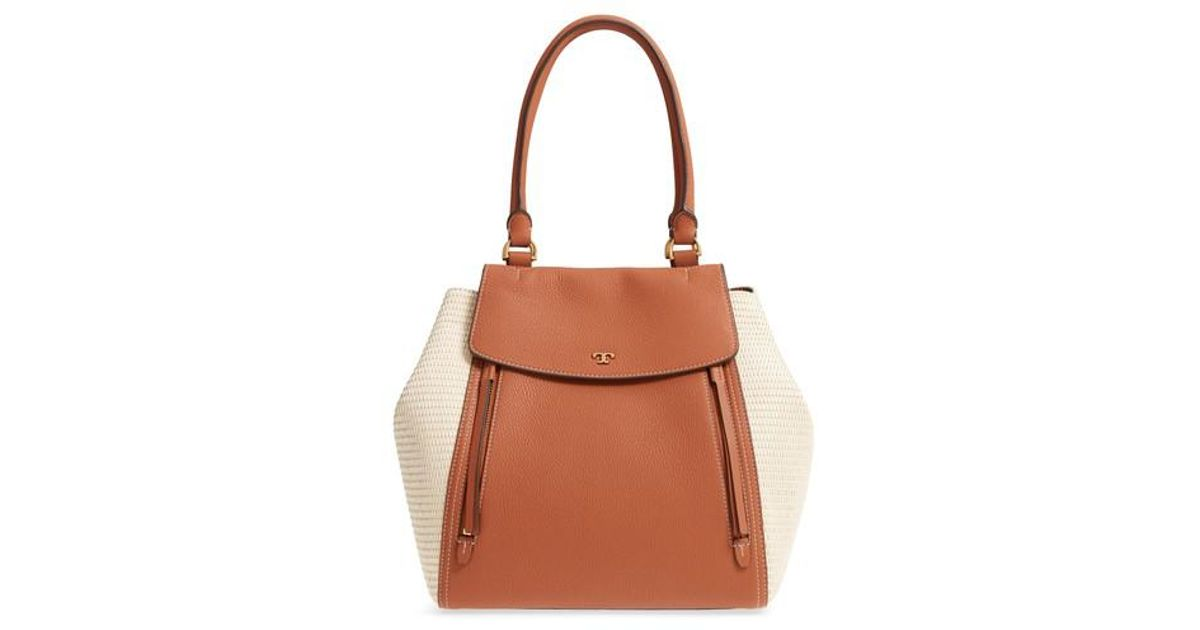 Lyst - Tory Burch Half-moon Straw   Leather Tote - in Brown c4827fbe402e