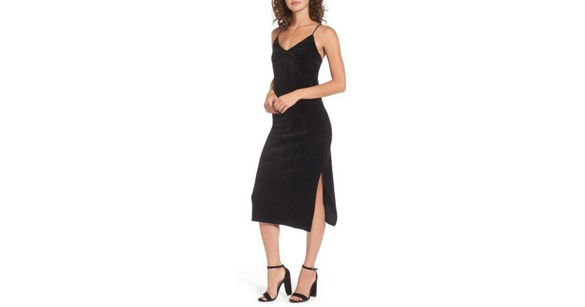 22e87d5fbc699 Lyst - Juicy Couture Stretch Velour Slipdress in Black