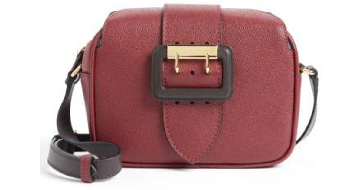 6e019efb696d Lyst - Burberry Small Buckle Leather Camera Crossbody Bag - Burgundy