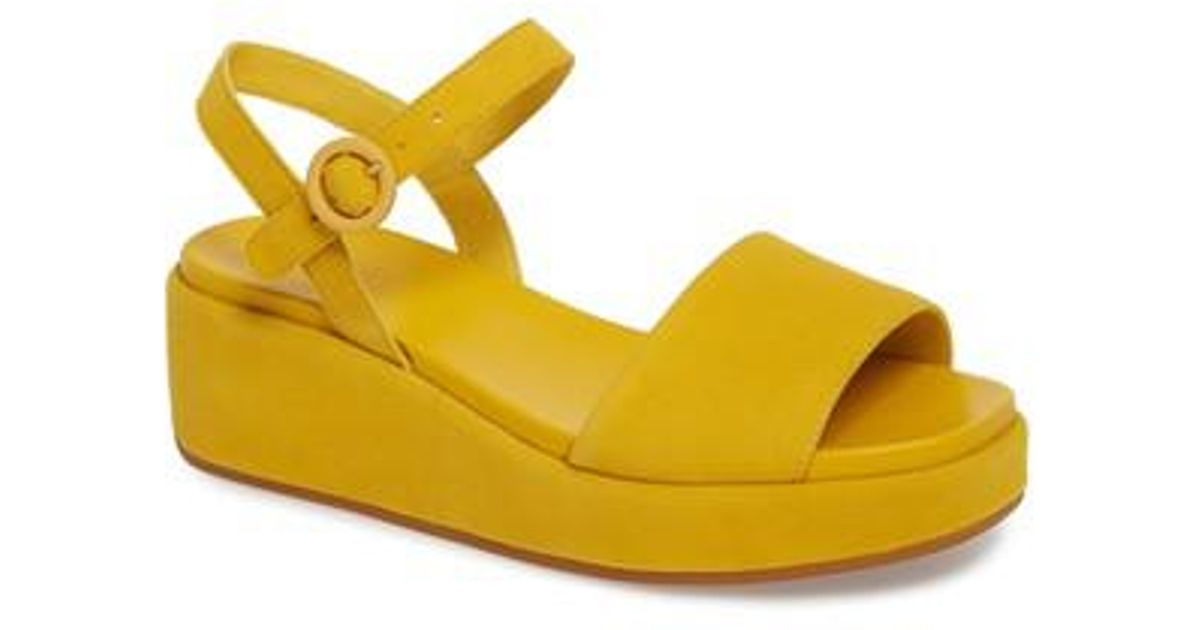 4c19415b793d Lyst - Camper Misia Platform Wedge Sandal in Yellow - Save 6%