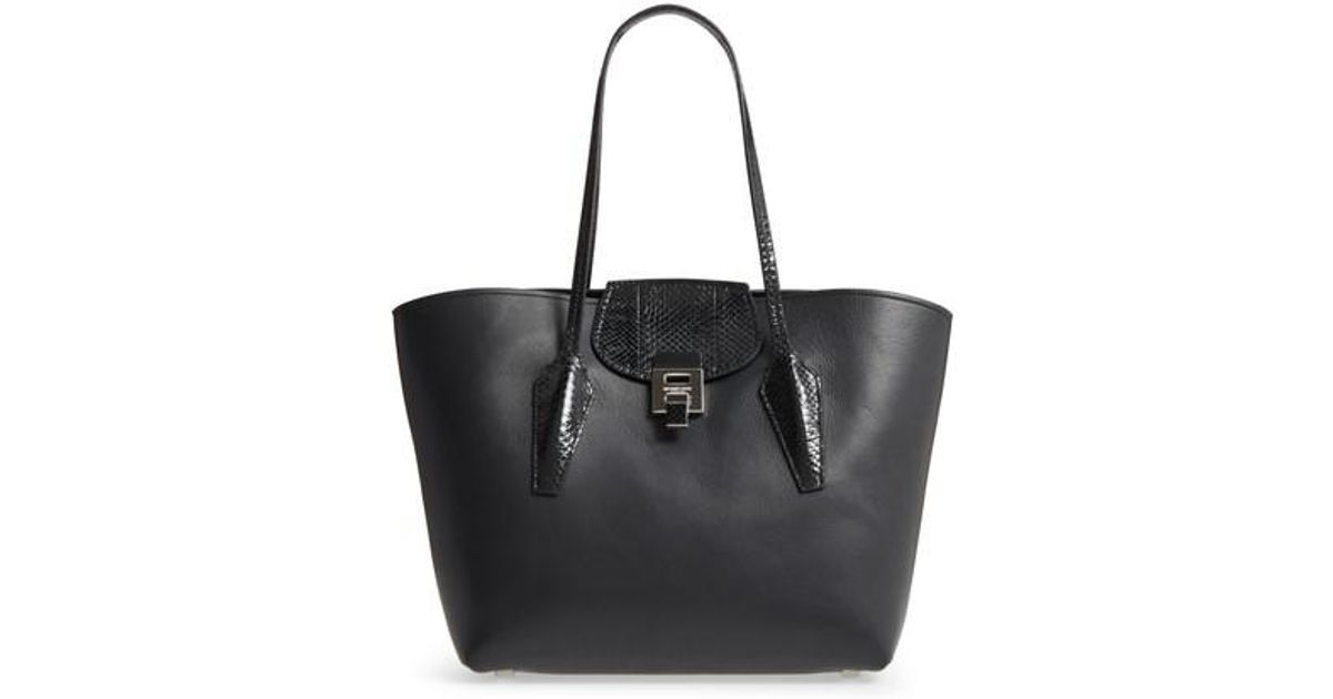 9a2b890159bd Lyst - Michael Kors Large Bancroft Leather Tote With Genuine Snakeskin Trim  in Black